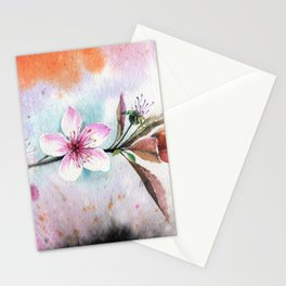 Decorative Peach Flower Bloom Watercolor Painting Stationery Cards
