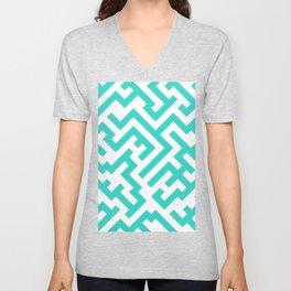White and Turquoise Diagonal Labyrinth Unisex V-Neck