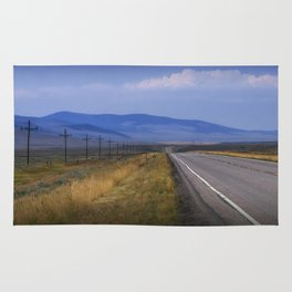 Montana Roadway running through the  Mountain Foothills Rug