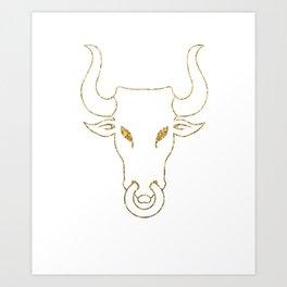 Gold Bull Head Silhouette Art Print