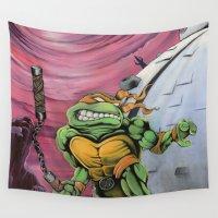 teenage mutant ninja turtles Wall Tapestries featuring Teenage Mutant Turtles Painting by Bfreshdesign