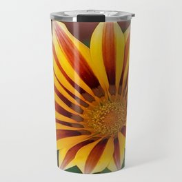 Single Flower Close Up Gazania Red Stripe Travel Mug