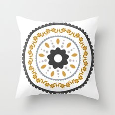 Floral suzani inspired golden centred Throw Pillow