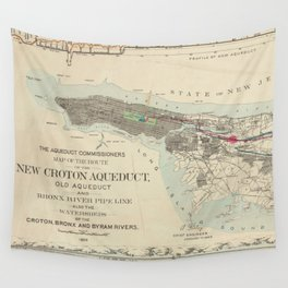 Vintage Map of NYC & The Croton Aqueduct (1899) Wall Tapestry