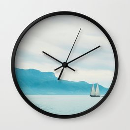 Modern Minimalist Landscape Ocean Pastel Blue Mountains With White Sail Boat Wall Clock
