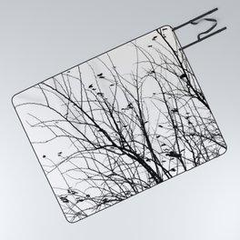 Black white tree branch bird nature pattern Picnic Blanket