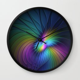 Colorful and Luminous, Abstract Fractals Art Wall Clock