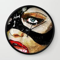 catwoman Wall Clocks featuring Catwoman by Ed Pires