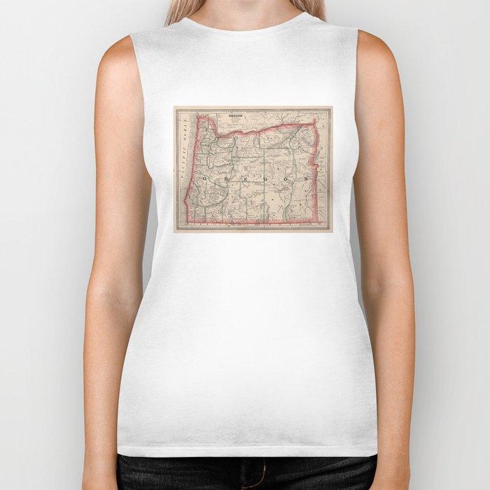 Vintage Map of Oregon (1883) Biker Tank