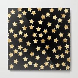 Geometric sparkle seamless pattern with gold glitter stars Metal Print
