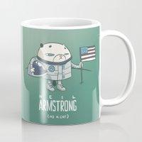 neil gaiman Mugs featuring Neil Armstrong (as a cat) by Mr Scotch