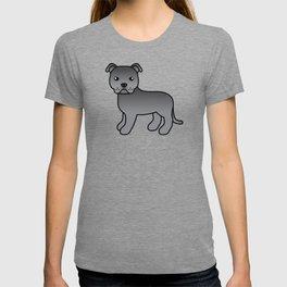 Blue English Staffordshire Bull Terrier Cartoon Dog T-shirt