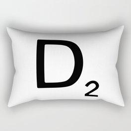 Letter D - Custom Scrabble Letter Wall Art - Scrabble D Rectangular Pillow