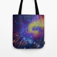pocket fuel Tote Bags featuring Fuel Trails by AbstractAnomaly
