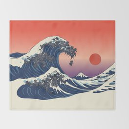 The Great Wave of Black Pug Throw Blanket