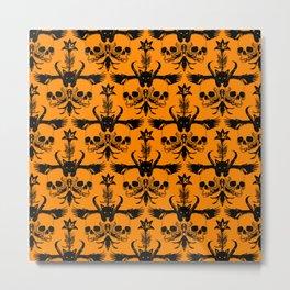 The Flying Black Cat Spell | damask || orange pumpkin Metal Print