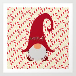 Candy Cane Gnome Art Print