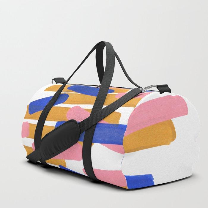 Colorful Minimalist Mid Century Modern Shapes Pink Ultramarine Blue Yellow Ochre Confetti Duffle Bag