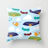 aviation Throw Pillows featuring Aviation Airplanes Helicopter by cindybee