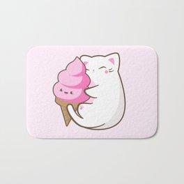 Ice cream lover chubby cat Bath Mat