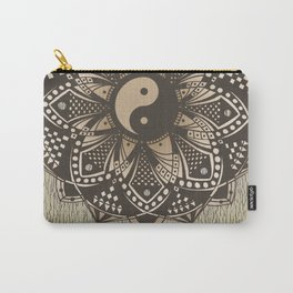 """Yin and Yang """"Sepia"""" Mandala Carry-All Pouch"""