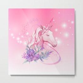 Unicorn in Pink Metal Print