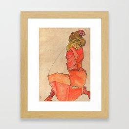 "Egon Schiele ""Kneeling Female in Orange-Red Dress"" Framed Art Print"
