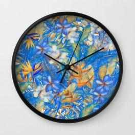 My Blue Aloha Tropical Flower Hibiscus Garden on #Society6 Wall Clock