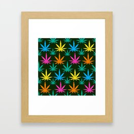Colorful Marijuana weed Framed Art Print