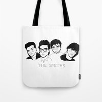 the smiths Tote Bags featuring The Smiths by ☿ cactei ☿