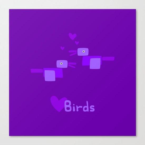 Love Birds-Purple Canvas Print