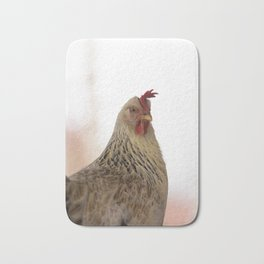 A chicken in the portrait Bath Mat