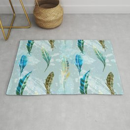 Floating Exotic Feathers Sophisticated Pattern Rug