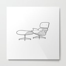 Mid-century - Eames Lounge Chair Sketch (B) Metal Print