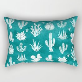 Cactus Pattern on Teal Rectangular Pillow