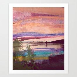 Tropical Sunset Surfer Art Print