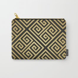 Black and gold high fashion Greek key pattern Carry-All Pouch