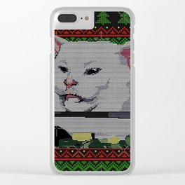Woman Yelling at Cat Meme - Ugly Sweater Clear iPhone Case