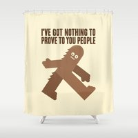 sasquatch Shower Curtains featuring Surefooted by David Olenick
