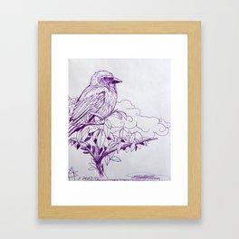 Purple Ink Bird Framed Art Print