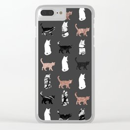 Kitty Cats in Rose Gold and Black and White Marble Clear iPhone Case