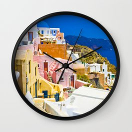 Colorful Santorini Wall Clock