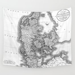 Vintage Map of Denmark (1801) BW Wall Tapestry