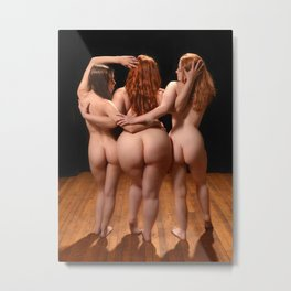 2527  The Three Muses, Small Medium and Large Nude Women Booty Redheads Rear View Behind Fat Art Metal Print