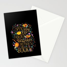 Folded Between the Pages of Books - Floral Black Stationery Cards
