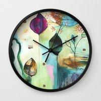 "flora bowley Wall Clocks featuring ""Abundance"" Original Painting by Flora Bowley  by Flora Bowley"