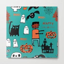 Cute Frankenstein and friends teal #halloween Metal Print