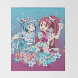 Sayaka Miki & Kyoko Sakura - Love Yukata edit. Throw Blanket