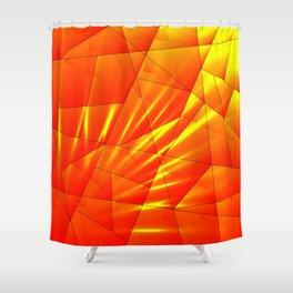 Bright sunshine on orange and yellow triangles of irregular shape. Shower Curtain