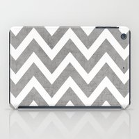 gray iPad Cases featuring gray chevron by her art